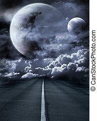 szürrealista, út, galaktika
