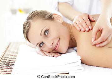 szőke, bánásmód, akupunktúra, felfogó, mosolyog woman