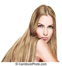 szőke, gyönyörű woman, hosszú, egyenes szőr