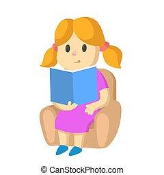 szőke, leány, ábra, csinos, karosszék, ülés, felolvasás, book., elszigetelt, vektor, háttér., lakás, fehér