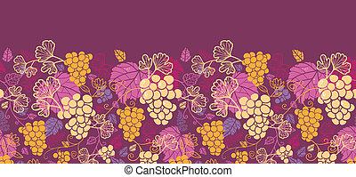szőlő, motívum, seamless, szőlőtőke, háttér, kellemes, horizontális, határ