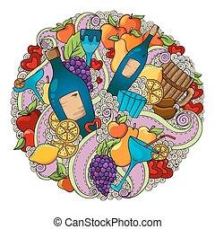 szőlő, szeret, színes, koktél, citrom, körte, text., hord, háttér, háttér., alma, sausages., állás, piros, motívum, bor, ünnep, -e, bor