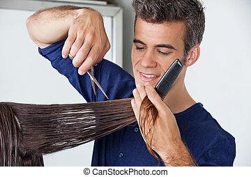 szőr elvág, client's, fodrász