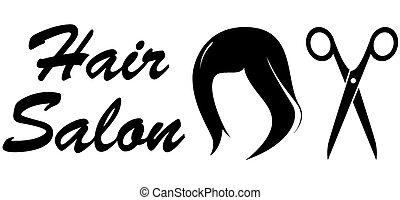 szőr salon, fehér, háttérfüggöny, ikon