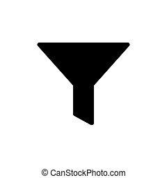 szűr, ikon, vektor, tölcsér, -, sablon, tervezés