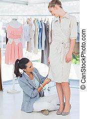 szabályozó, mód, ruha, tervező