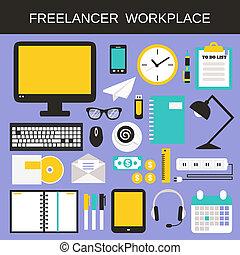 szabadúszó, állhatatos, workplace, ikonok