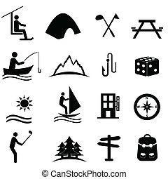 szabad, pihenés, sport icons
