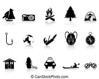 szabadban, fekete, kempingezés, ikon