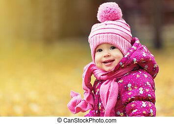 szabadban, liget, ősz, gyermek, csecsemő lány, boldog
