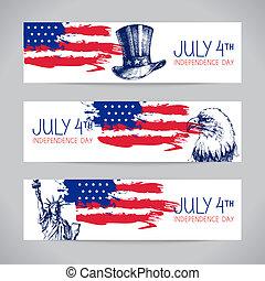 szabadság, háttér, flag., szalagcímek, július, amerikai, 4