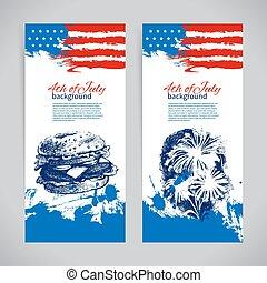 szabadság, háttér, nap, flag., szalagcímek, július, amerikai, 4, skicc, tervezés, kéz, húzott