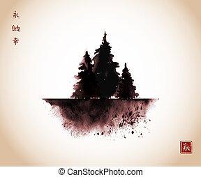szabadság, hagyományos, tinta, style., -, lemos, szüret, három, hieroglyphs, keleti, sóvárog fa, örökkévalóság, u-sin, festmény, go-hua., sumi-e, happiness.