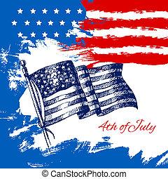 szabadság nap, flag., július, háttér, amerikai, 4, skicc, tervezés, szüret, kéz, húzott