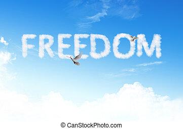 szabadság, szó, felhő, ég