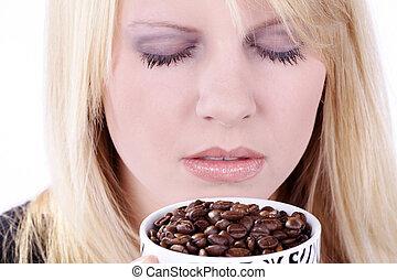 szaglás, nő, kávécserje fej