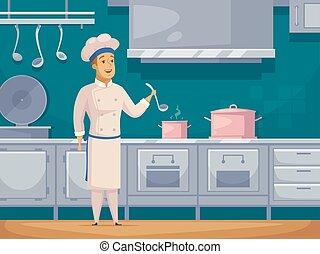 szakács, betű, hajó, transzparens, karikatúra