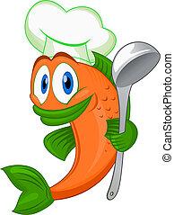szakács, fish, karikatúra