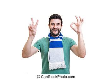 szakállas, foci rajongó