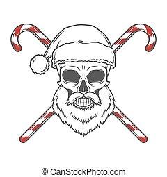 szakállas, sétabot, poster., illustration., koponya, szüret, klaus, cukorka, póló, portrait., szent, öreg, ünnep, karácsony, ember