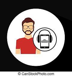 szakállas, smartphone, fejhallgató, zene, online, pasas