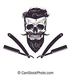 szakállas, vektor, koponya, ábra