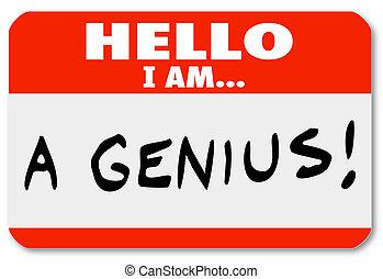 szakértő, ragyogó, azonosító kártya, zseni, gondolkodó, szia