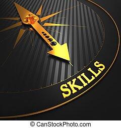 szakértelem, arany-, compass.