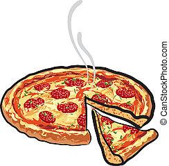 szalámi, pizza