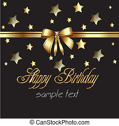 szalag, boldog, gold kártya, születésnap