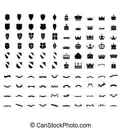szalag, körvonal, középkori, állhatatos, elements., shield., címertani, tervezés, crown., 100