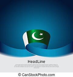 szalag lobogó, befest, állam, háttér., poster., lobogó, vektor, fehér, pakisztán, design., hullámos, nemzeti, fedő, hazafias, blue flyer