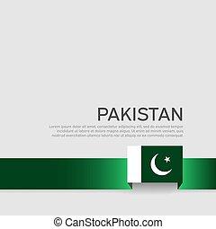 szalag, nemzeti, befest, állam, háttér., lobogó, pakisztán, fehér, vektor, lakás, design., poster., fedő, hazafias, repülő