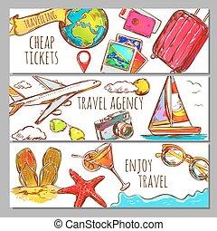 szalagcímek, állhatatos, utazás, skicc