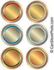szalagcímek, ezüst, bronz, arany