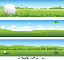 szalagcímek, golf, háttér
