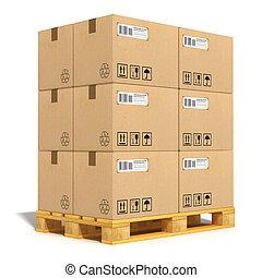 szalmaágy, dobozok, kartonpapír, hajózás