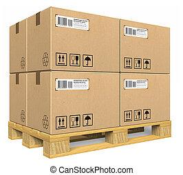 szalmaágy, dobozok, kartonpapír