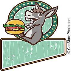 szamár, felszolgál, burger, retro, ovális, téglalap, kabala