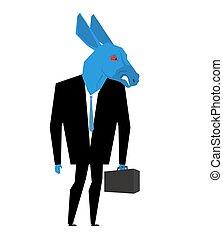 szamár, választások, ügy metafóra, vad, egyesült, állat, suit., fél, demokratikus, businessman., usa, ábra, tie., aktatáska, states., politikai, állat