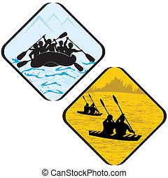 szarufával ellátó, ikon, aláír, evezés, pictogram., sport jelkép, kajak, tenger víz