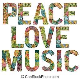 szavak, szeret, vektor, music., dekoratív, cél, zentangle, béke