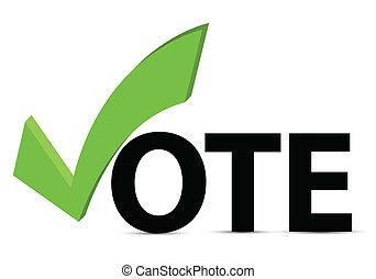szavaz, ellenőriz jelölés, szöveg