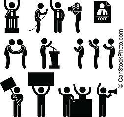 szavaz, politikus, választás, riporter