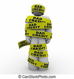 szegény, értékelés, ábra, hitel, rossz, bemetsz, szalag, csomagolt, ember, 3