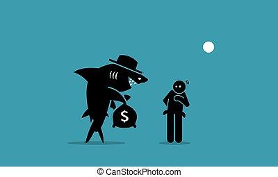 szegény, cápa, kölcsönad, man.