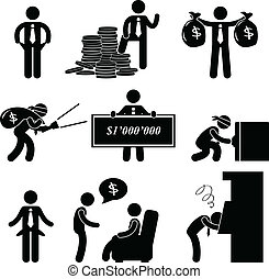 szegény, ember, pictogram, gazdag, emberek