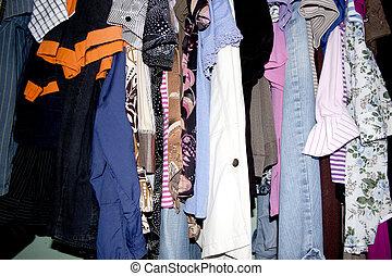 szekrény, második, öltözet, kéz