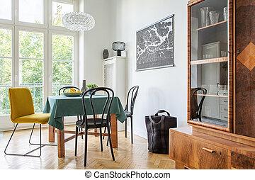 szekrény, szoba, elnökké választ, épület, étkező, bérlemény, retro, belső, asztal