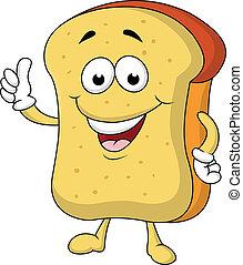 szelet, betű, karikatúra, bread